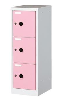 ####u.テラモト 環境美化用品【OT-208-001-6】フリーボックス 1列3段 ピンク