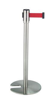 ####u.テラモト 環境美化用品【SU-660-500-2】ベルトパーテーションスタンドD ステン ベルト赤