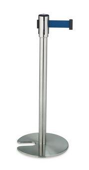 ####u.テラモト 環境美化用品【SU-660-500-3】ベルトパーテーションスタンドD ステン ベルト青