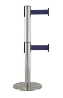 ####u.テラモト 環境美化用品【SU-661-620-3】2段式ベルトパーテーション ロイヤルブルー