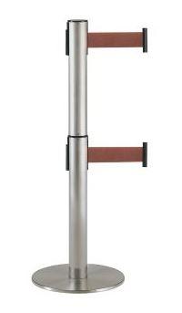 ####u.テラモト 環境美化用品【SU-661-620-4】2段式ベルトパーテーション ブラウン