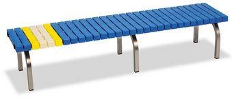 ####u.テラモト 環境美化用品【BC-302-318-3】ホームベンチ ステン 1800 青 受注生産