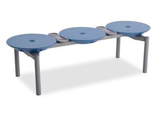 ####u.テラモト 環境美化用品【BC-309-213-3】ディスクベンチ スタッキング ブルー カップホルダー付