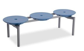 ####u.テラモト 環境美化用品【BC-309-313-3】ディスクベンチ スタッキング ブルー カップホルダーなし