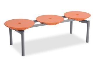 ####u.テラモト 環境美化用品【BC-309-313-5】ディスクベンチ スタッキング オレンジ カップホルダーなし