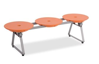 ####u.テラモト 環境美化用品【BC-309-513-5】ディスクベンチ フォールディングタイプ オレンジ カップホルダーなし