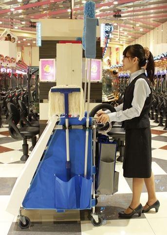 ####u.テラモト 環境美化用品【DS-227-150-3】エアロカートZ 掃除機搭載タイプ 青 受注生産