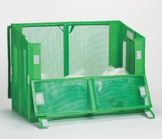 ####u.テラモト 環境美化用品【DS-261-112-1】自立ゴミ枠2 折りたたみ式 緑 1200×600×880