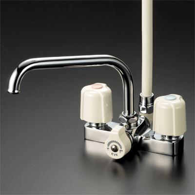 ∠▽◆在庫有り!台数限定!KVK水栓金具【KF14E】デッキ形2ハンドルシャワー