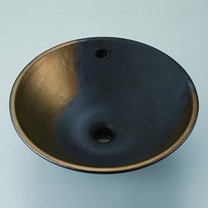 KV305F 即納送料無料 ≧KVK 手洗器 超激得SALE 手洗器のみ 美術工芸手洗鉢 黒金彩 オーバーフロー仕様 洗面ボウル