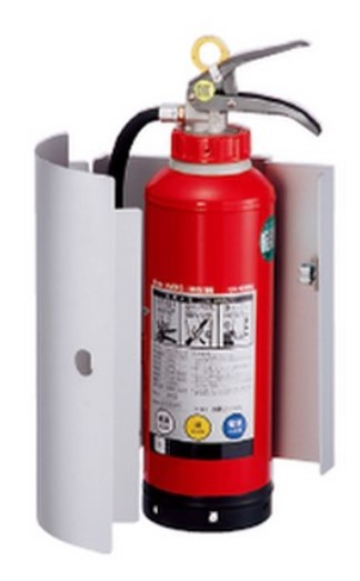 ####u.神栄ホームクリエイト【SK-FEB-02K】消火器ボックス 壁付型 10型 スチール製 シルバーメタリック