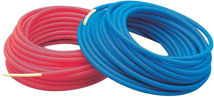 カクダイ【672-131-50B】サヤ管つき架橋ポリエチレン管(青) 10A×22
