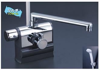 KVK 水栓金具【KF3008LR2】デッキ型サーモスタット式シャワー 可変ピッチ 左ハンドル仕様