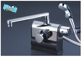 KVK 水栓金具【KF3008RS2】デッキ型サーモスタット式シャワー 可変ピッチ 右ハンドル仕様 ワンストップシャワーヘッド付き 190mmパイプ付