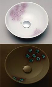≧KVK 洗面器【KV07A】美術工芸手洗鉢 天草陶石 フローライト 花友禅/プレーン
