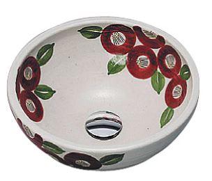 ≧KVK 洗面器【KV209S】美術工芸手洗鉢 信楽焼 赤椿絵