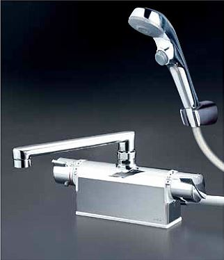 KVK 水栓金具【KF771ZTR2S2】フルメッキワンストップシャワーヘッド付 デッキ形サーモスタット式シャワー 240mmパイプ付 寒冷地用