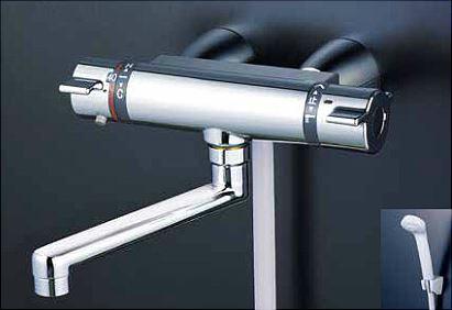 KVK 水栓金具【KF800TG】サーモスタット式シャワー(スカートソケットタイプ) 170mmパイプ付 シャワーヘッドグレー