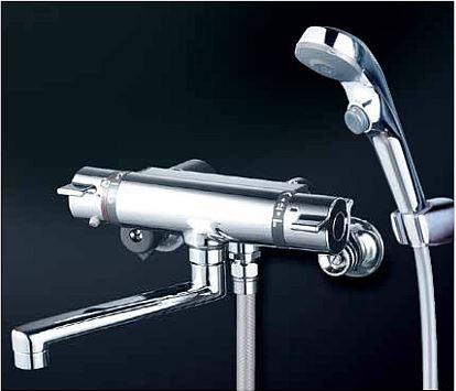 KVK 水栓金具【KF800WTR2S2】フルメッキワンストップシャワーヘッド付 サーモスタット式シャワー 240mmパイプ付 寒冷地用