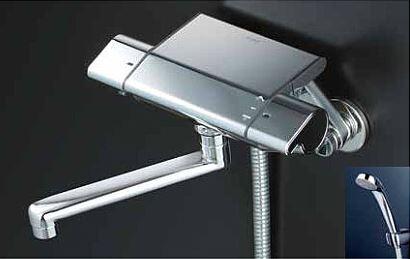 KVK 水栓金具【KF850R2】フルメッキシャワーヘッド付 サーモスタット式シャワー 240mmパイプ付