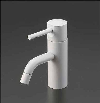 KVK 水栓金具【KM7021LM4】マットホワイト 洗面用シングルレバー式混合栓ロングボディー