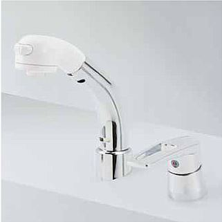 KVK 水栓金具【KM8029TCN】シングルレバー式洗髪シャワー 18°傾斜取付タイプ ヒートン付