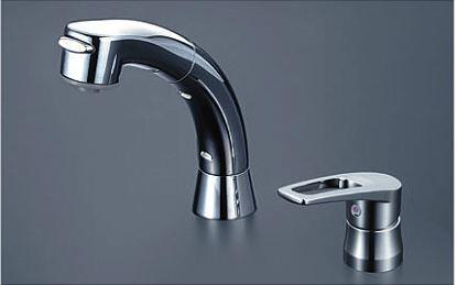 KVK【KM5271TS2】シングルレバー式洗髪シャワー シャワー引き出し式 ブレードホース・クイックファスナー付