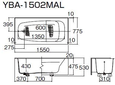 ###INAX 浴槽【YBA-1502MAL】洋風バス 左排水
