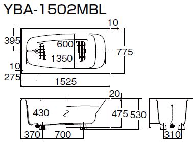 ###INAX 浴槽【YBA-1502MBR】洋風バス 右排水