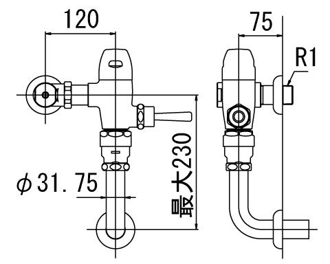 ▽INAX フラッシュバルブ 洗浄水量10-15L便器用【CF-510KU-C】一般用(節水形) 受注生産品