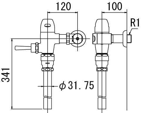▽INAX フラッシュバルブ 洗浄水量10-15L便器用【CF-5110U-C】一般用(節水形) 受注生産品