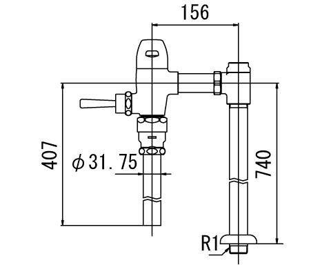 ▽INAX フラッシュバルブ 洗浄水量10-15L便器用【CF-5115UA-C】一般用(節水形) 受注生産品