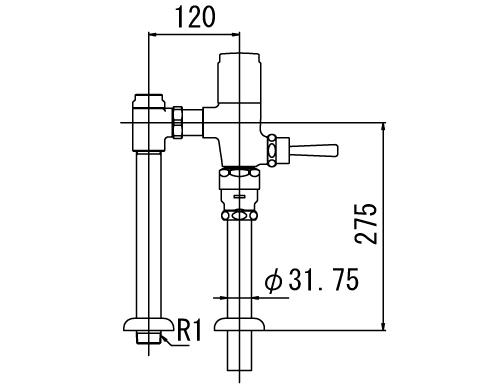 ▽INAX フラッシュバルブ 洗浄水量6-8L便器用【CF-610UT-C】低圧用(節水形) 受注生産品