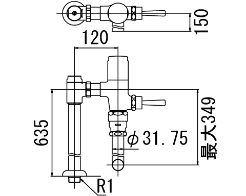 ▽INAX フラッシュバルブ 洗浄水量6-8L便器用【CF-63UT-C】低圧用(節水形) 受注生産品