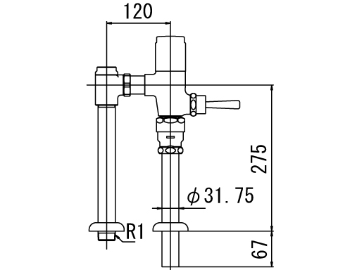 ▽INAX フラッシュバルブ 洗浄水量6-8L便器用【CF-T610-C】一般用(節水形) 受注生産品