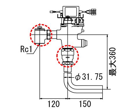 INAX オートフラッシュCセパレート形 フラッシュバルブ【OKC-T680-C】洗浄水量6-8L便器用(定流量弁付フラッシュバルブ) 受注生産品