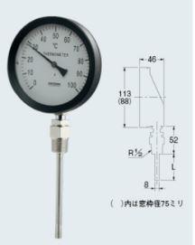 カクダイ【649-907-50B】バイメタル製温度計(ストレート型)