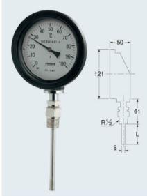 カクダイ【649-913-100B】バイメタル製温度計(防水・ストレート型)