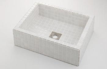カクダイ【493-143-W】角型洗面器//ホワイト