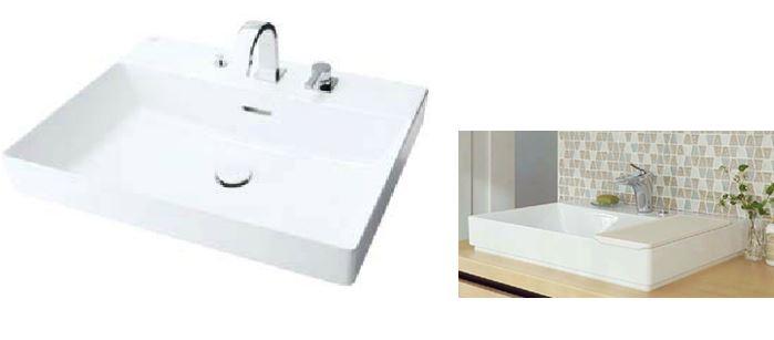 INAX/LIXIL 角形洗面器 ベッセル式【YL-A401SYACQ(C)V】(ワイドスクエアタイプ) シングルレバー混合水栓(キュビア) 床排水(ボトルトラップ) 床給水