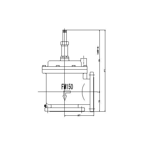 FMバルブ製作所【FMバルブ 3型 150A】(アングル型) 定水位弁 取付タイプ(フランジ型) 本体材質:FCD450