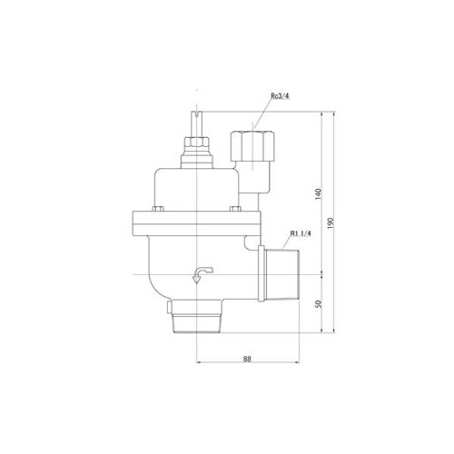 FMバルブ製作所【FMバルブ 3型 30A】(アングル型) 定水位弁 取付タイプ(ねじ込み型(R)) 本体材質:CAC901