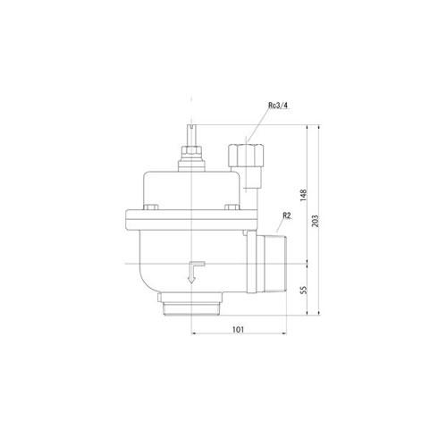FMバルブ製作所【FMバルブ 3型 50A】(アングル型) 定水位弁 取付タイプ(ねじ込み型(R)) 本体材質:CAC901