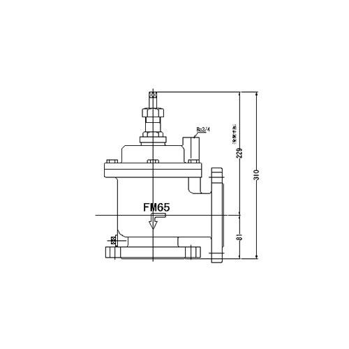FMバルブ製作所【FMバルブ 3型 65A】(アングル型) 定水位弁 取付タイプ(フランジ型) 本体材質:CAC901
