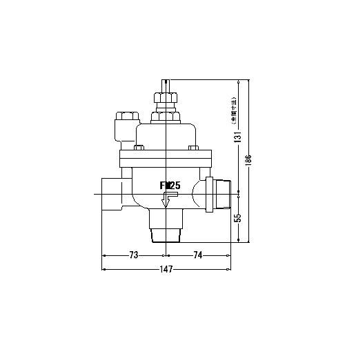 FMバルブ製作所【FMバルブ 3L型 25A】(アングル型) 定水位弁 取付タイプ(ねじ込み型(R)) 本体材質:CAC901