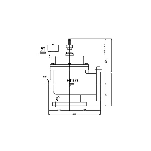 FMバルブ製作所【FMユニットバルブ A-2型 100A】(アングル型) 電磁弁一体型定水位弁 取付タイプ(通電「開」AC100/200V共用 フランジ型) 本体材質:CAC901