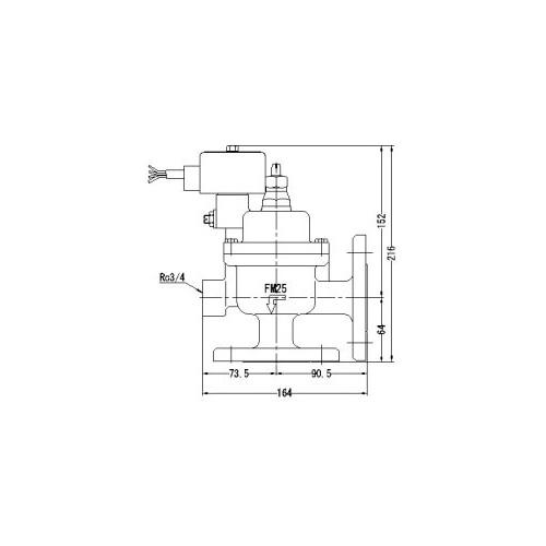 FMバルブ製作所【FMユニットバルブ A-2F型 25A】(アングル型) 電磁弁一体型定水位弁 取付タイプ(通電「開」AC100/200V共用 フランジ型) 本体材質:CAC901