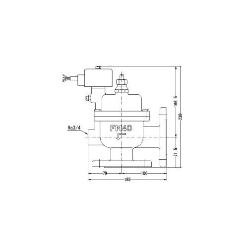 FMバルブ製作所【FMユニットバルブ A-2F型 40A】(アングル型) 電磁弁一体型定水位弁 取付タイプ(通電「開」AC100/200V共用 フランジ型) 本体材質:CAC901