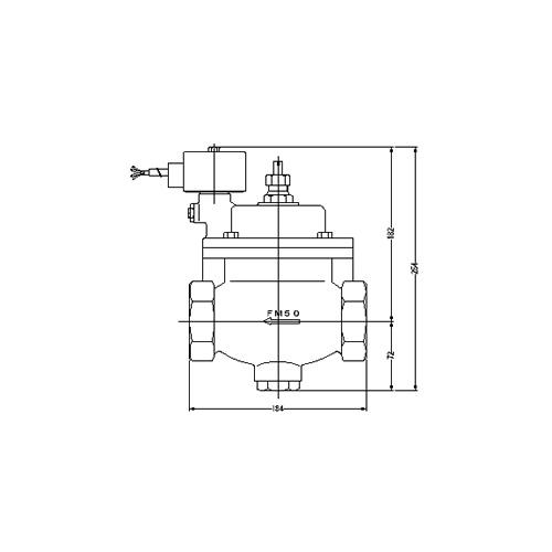 FMバルブ製作所【FM電磁弁 PS-1型 50A AC100/200V】手動開閉弁付 通電「開」AC100/200V共用 取付タイプ(ねじ込み型(Rc)) 本体材質:CAC901