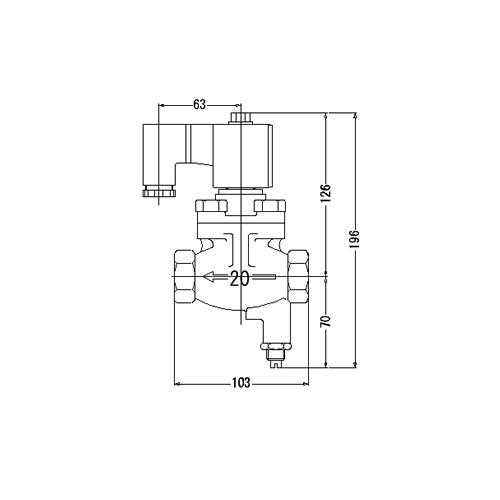 FMバルブ製作所【FM定水位弁用電磁弁 PSV-2型 20A】通電「開」AC100/200V共用 取付タイプ(ねじ込み型(Rc)) 本体材質:CAC901